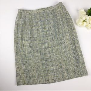 Pendleton Mint Green Chunky Tweed 100% Silk Skirt
